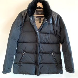 Coach Down Puffer Winter Coat Black Leather Fur